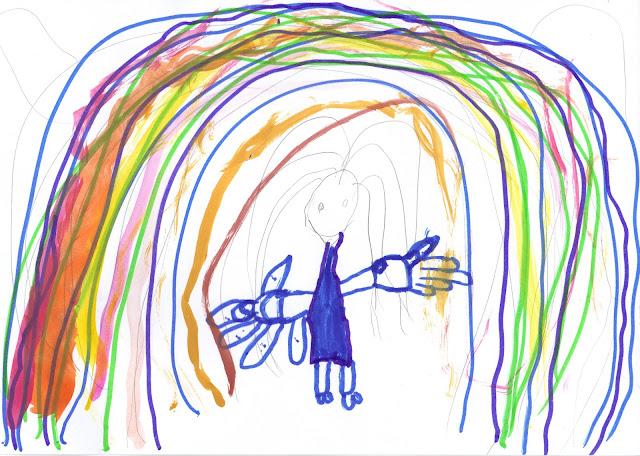 Arc en ciel - crayon à papier, feutre et aquarelle