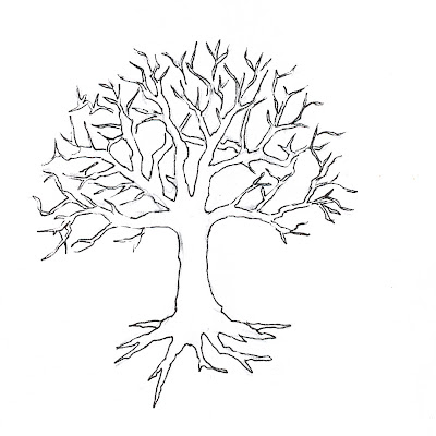 Tree with Roots Drawing Outline