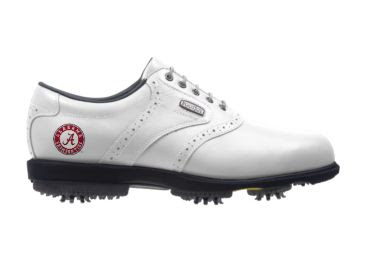 White Alabama Crimson Tide golf shoe with white laces and a standard design for this sport. This is a right shoe.