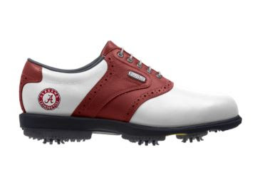 Red and white Alabama golf shoe that can also be described as crimson and cream colored.