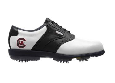 SC Gamecocks golf shoe that is white with a black stripe and a black heel near the USC college logo near the arch support.
