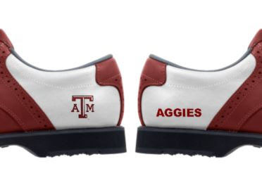 Texas A and M golf shoes with the ATM logo and the word AGGIES written on the second heel.