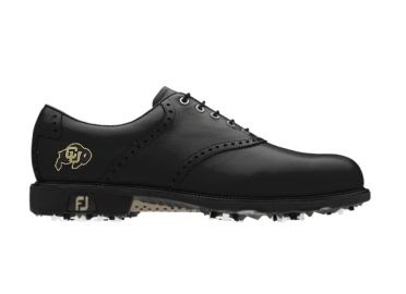 Black Colorado Buffaloes golf shoe that has a patent leather exterior and short cleats underneath along with a supported arch and thin laces.
