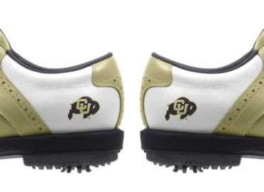 University of Colorado golf shoes for men with matching CU Buffaloes logos above soft plastic cleats that can be worn indoors.