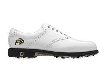 White CU Buffs golf shoe for women that has the FJ logo in addition to the Colorado logo on this classic design.