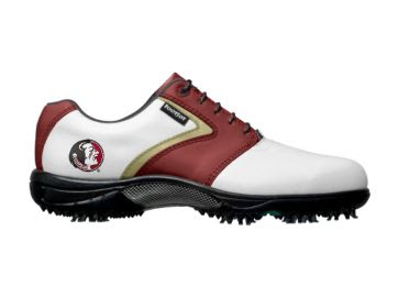 FSU Seminoles golf shoe that is white, maroon, and has gold trim with a school logo on the heel above black rubber spikes.