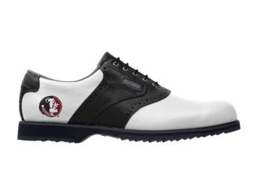Florida State Seminoles golf shoe that is white and black in a classic design for ladies and men.