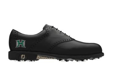 Black University of Hawaii golf shoe for men size 9 that has a UH Warriors logo in green on the heel of this black piece of golf footwear.