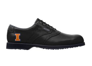 Black University of Illinois golf shoe with letter I logo on the heel of this men shoe size 10 made by Footjoy with indoor friendly grip.