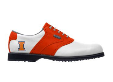 Orange University of Illinois golf shoe on classic design for lady's size 7 with white laces and black bottom of FJ golf product.