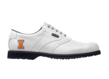 White Fighting Illini golf shoe with orange logo on this men's shoe size 10 standard design with black rubber cleats.