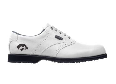 White Hawkeyes golf shoe for women size 7 with a black school logo on a traditional design with short cleats on this Footjoy product.