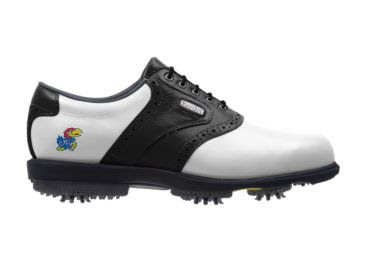 University of Kansas golf shoe with Big Jay mascot near the arch of this women's size 8 footwear with black trim on a classically designed white Footjoy product.