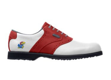 Red KU golf shoe for men size 10 with Jayhawk logo on the heel and red trim around a traditional white shoe with black rubber sole and plastic cleats.