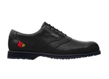 Black Louisville golf shoe with red logo on the heel of this lady's size 9 Footjoy product with gripped bottom and black exterior.