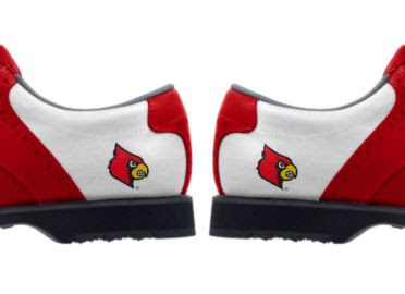 University of Louisville golf shoes with Cardinal Bird school logo on the heels of women's size 8 shoes that are white with red trim and black bottoms.
