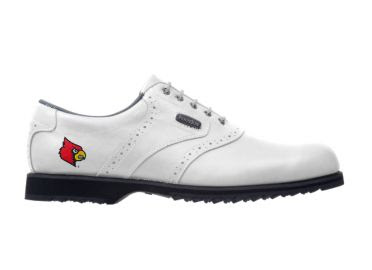 White Louisville golf shoe red logo near the arch support area with Footjoy logo on classic white design with white laces and black rubber sole.