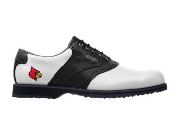 U of L Cardinals golf shoe with red, black, and yellow logo above the plastic cleats in the back of this ladies size 7 footwear with black shoelaces.