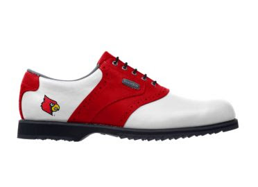 Red Louisville Cardinals golf shoe with Cardinal Bird mascot logo on the heel of this men's size 11 footwear with black sole and small cleats.