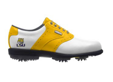 Gold LSU golf shoe that is also white with purple Tiger logo above large plastic cleats on lady's size 9 Footjoy product.