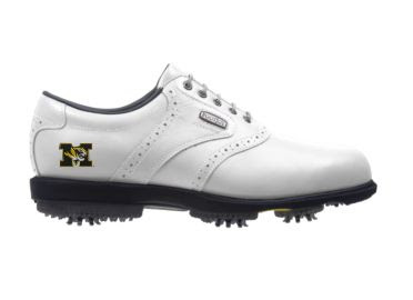 MU Tigers golf shoe in ladies size 8 with school logo on the back near the Footjoy logo near the tongue and white shoelaces.