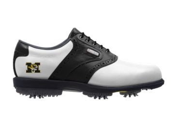 Gold MU golf shoe with Tigers logo on the heel near the arch support of this men's size 10 Footjoy product with plastic rubber cleats.
