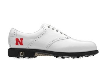 White Nebraska Golf Shoe in Men's size 11 with Cornhuskers logo on the side of this traditional design with black cleats.