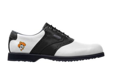 OK State golf shoe with Pistol Pete logo on the side and black trim on a traditional white style golf footwear design.