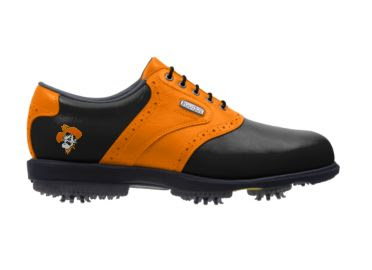 Black Oklahoma State golf shoe that is orange and black with a Cowboys logo on the back near the arch support with plastic cleats and black shoelaces.