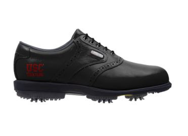 USC golf shoe that is all black with a red USC Trojans logo on the side near the arch support area of this Footjoy product.