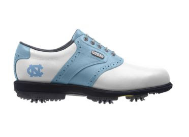 UNC Tar Heels golf shoe that is Carolina blue with white and a school logo on the side above plastic cleats on this men's size 10 Footjoy product.