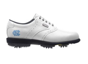 University of North Carolina golf shoe that is white traditional design with UNC logo on the back near the heel and above the cushioned rubber sole.