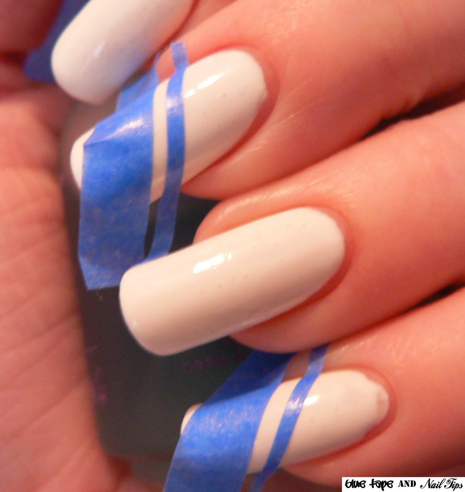 Tape and Blue Nail Tips