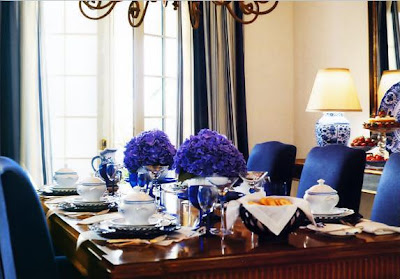 The Blue Carries Over Into The Dining Room With Blue With Nancy Corzine  Fabrics.