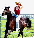 Riding Apollo, no saddle or bridle.