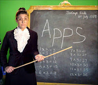 an ironic picture of a teacher pointing to the word App on a traditional blackboard