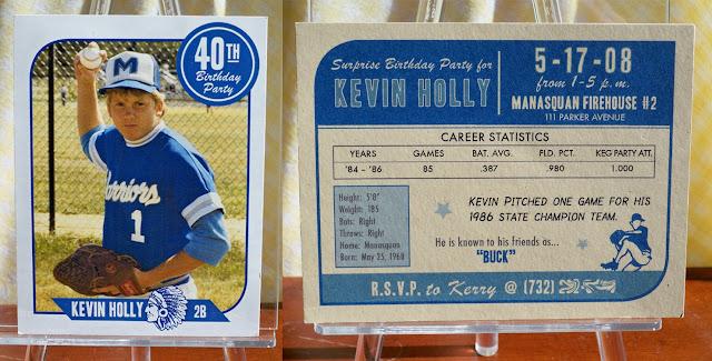 40th Birthday Baseball Card Invitation