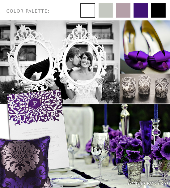 black white damask votives bunches of purple hydrangeas irises