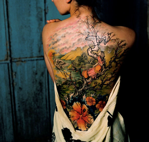 cherry blossom tree girl crane back tattoo