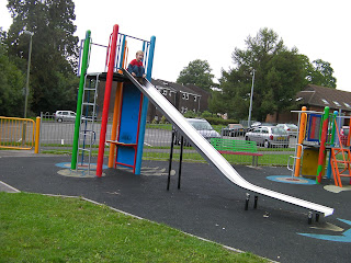 extra long slide, unexplored children's park