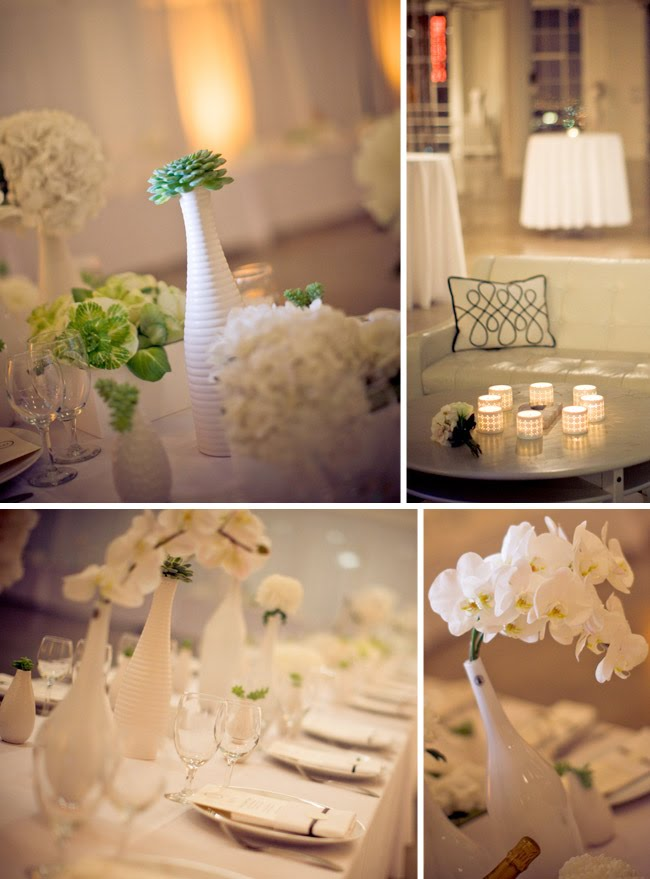 I love these white on white flower arrangements and those orchids are