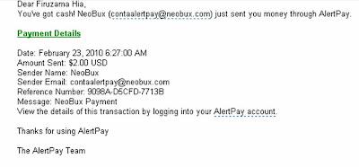 Pembayaran Dari Neobux
