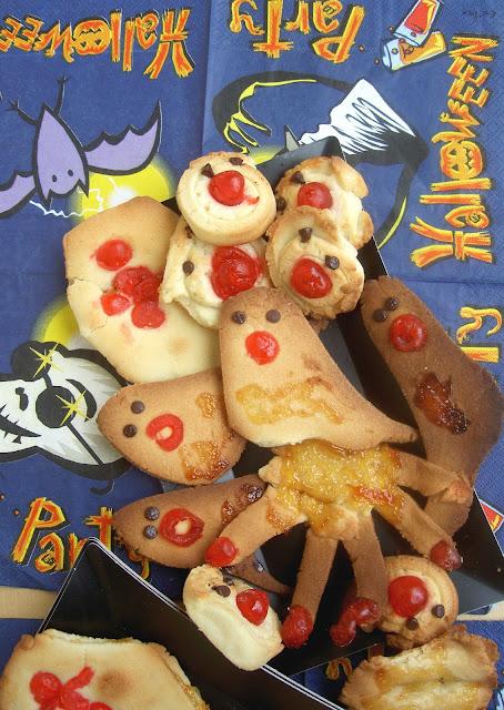 biscotti di pastrafolla per halloween con ciliegine candite