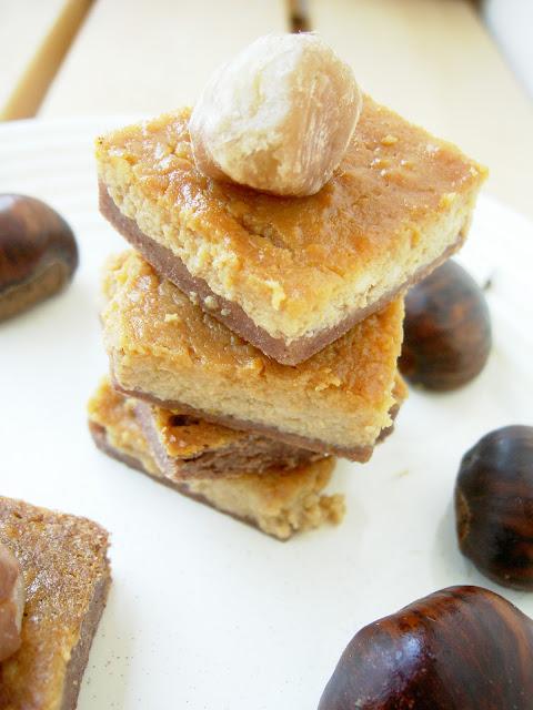torta quadrotti di castagne, ricotta e arancia