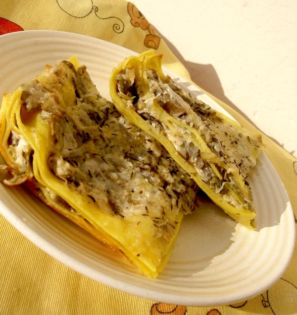 lasagne all'uovo con ricotta e carciofi