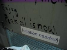 Wikipedia [citation needed] sticker in a bathroom