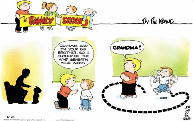 Family Circus sunday strip: Grandma tells Jeffy he has wings and he runs around flapping his arms like an idiot