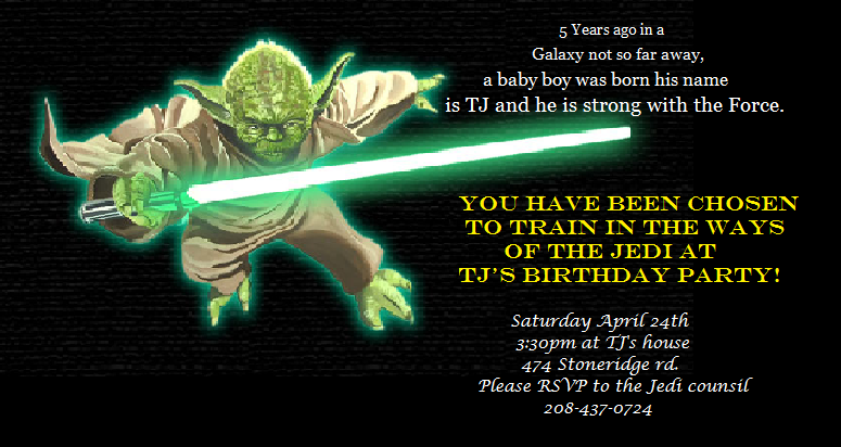 Star Wars Birthday Party Invitations Template
