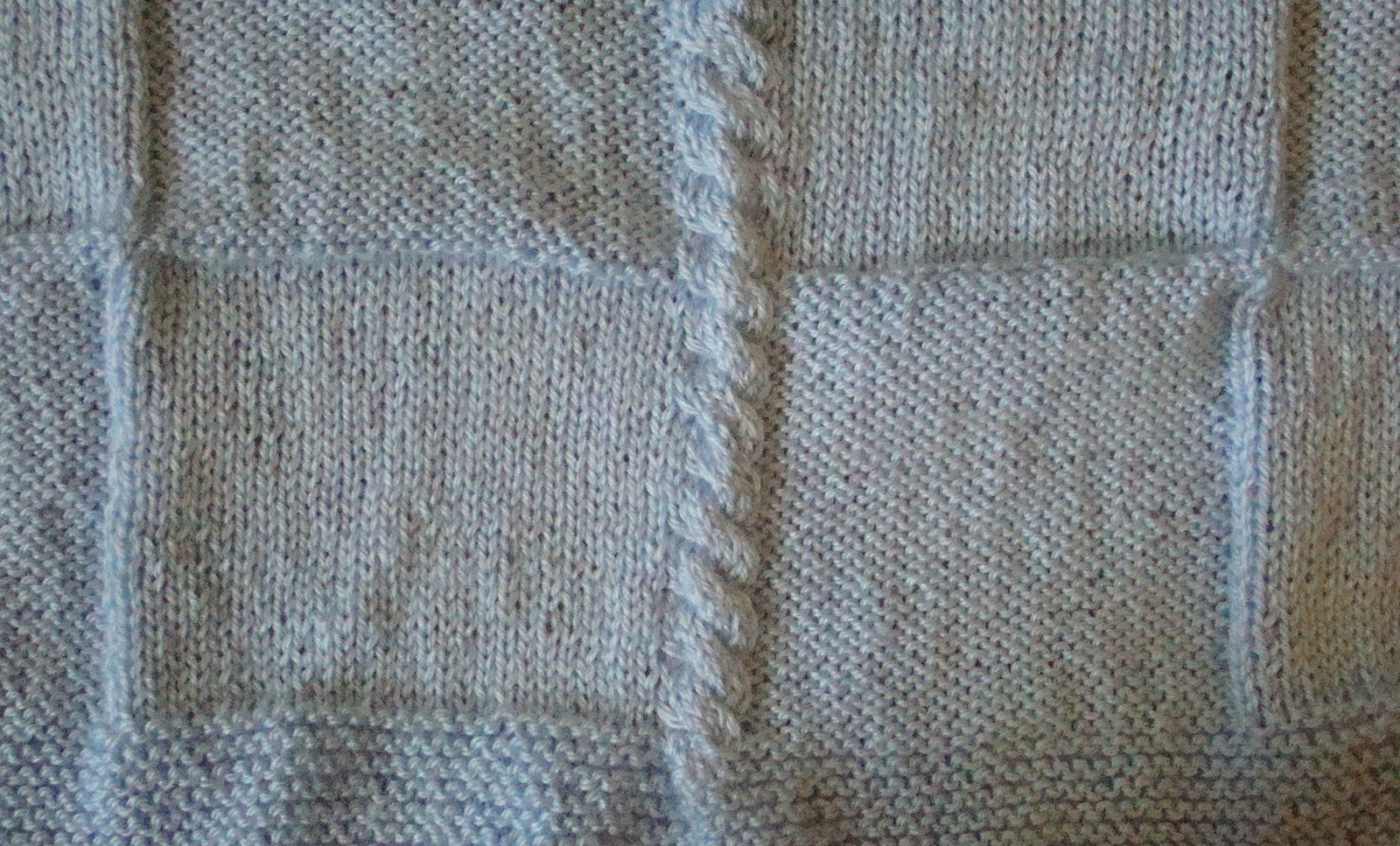 Knitting Patterns For Squares : Crafts By Starlight: Knit Baby Blanket - Squares and Cords
