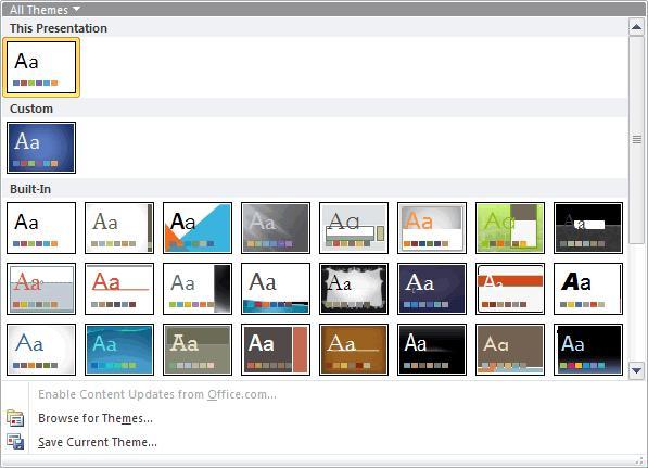 melihat tema tema yang datang dari powerpoint 2010 secara default